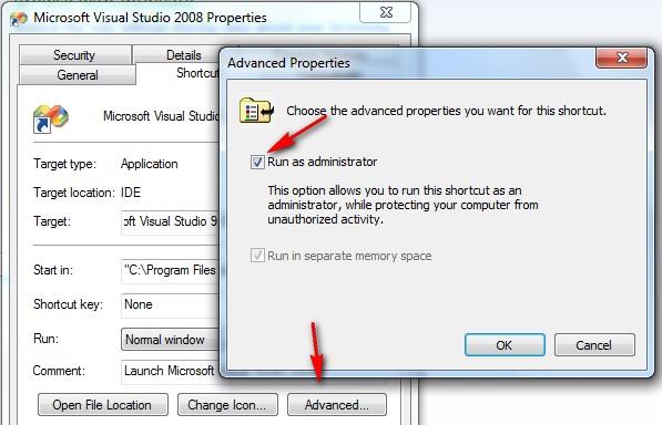 Visual Studio Shortcut - Advanced Options